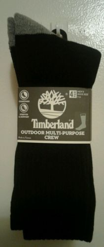 MENS 4 PAIR TIMBERLAND OUTDOOR MULTI-PURPOSE CREW SOCKS SHOE SIZE 9-12 3077