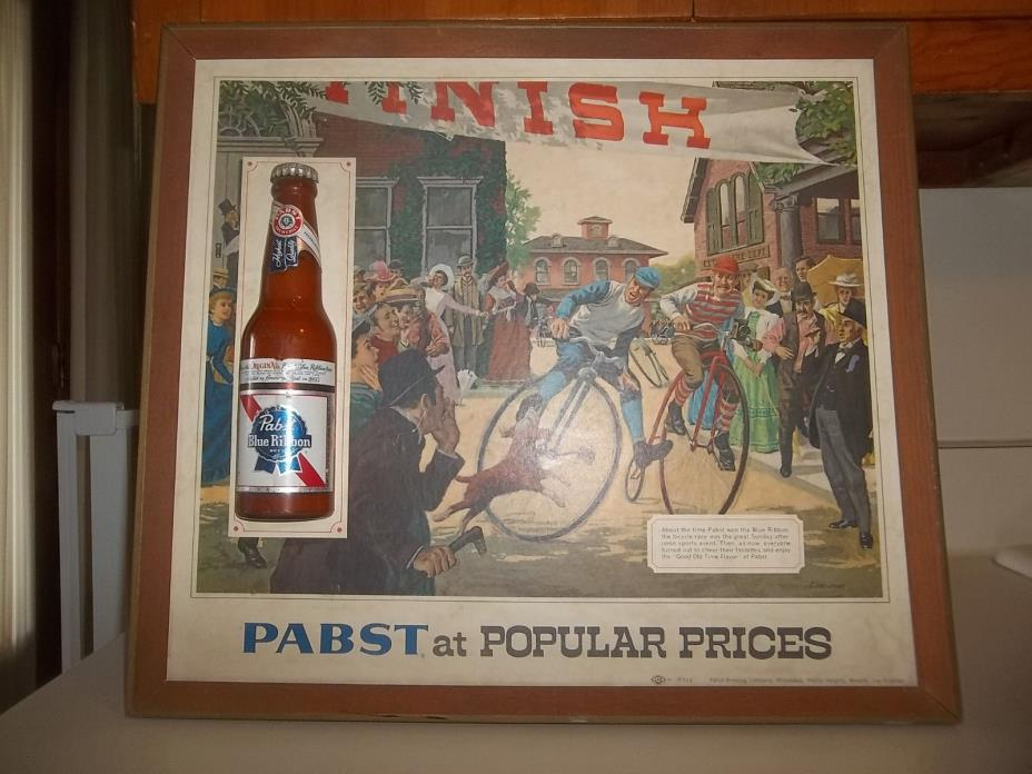 Vintage Pabst Blue Ribbon Beer 3D Sign Pabst at Popular Prices High Wheel Bike