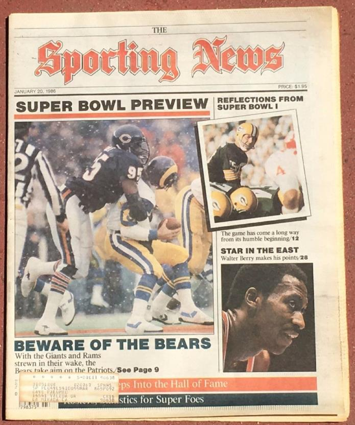 JANUARY 20, 1986 SPORTING NEWS  SUPER BOWL PREVIEW ISSUE  CHICAGO BEARS ON COVER