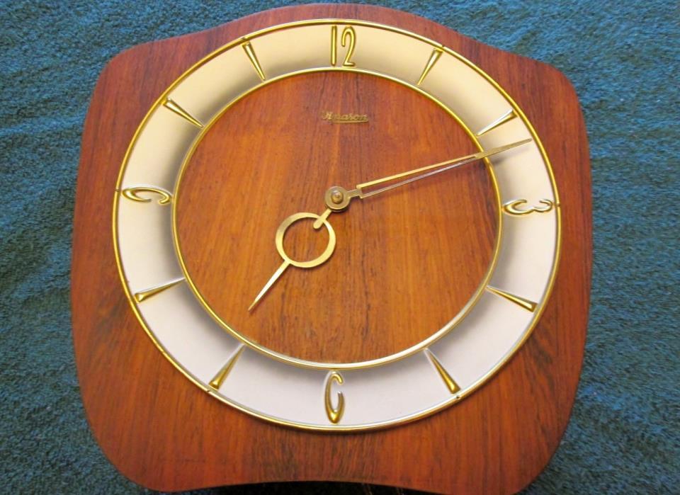 Wuba Teak Wall Clock - Art Deco Design