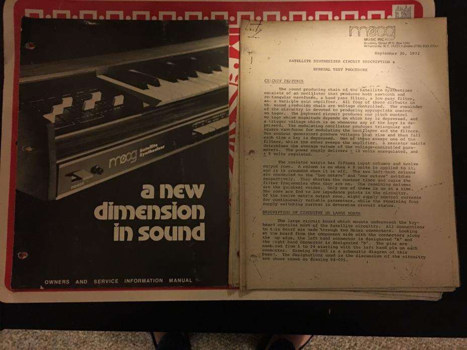 Vintage Moog Satellite Synthesizer Owner's And Service Information Manual
