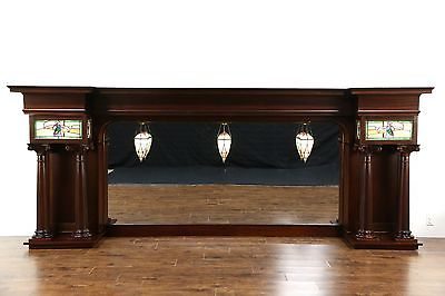 Back Bar Top, 1905 Antique with Mirror, Stained Glass Lights, Mahogany Columns