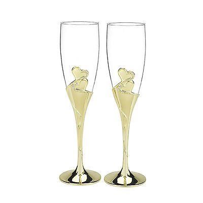 Gold Double Heart Rhinestone Wedding Anniversary Toasting Flute Champagne Glass