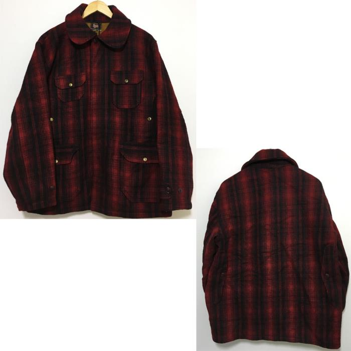 Woolrich Classic Hunting JACKET Coat VTG Wool Buffalo Plaid RED BLACK SZ 46 MEN