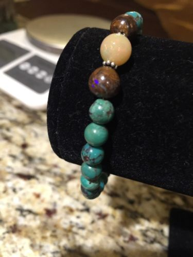 Genuine Turquoise, Ethiopian Opal And Boulder Opal Sterling Silver Bracelet !