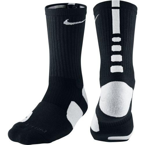 Nike Elite Basketball Socks Mens Shoe Size 8-12 Black White Crew 1 Pair Gift