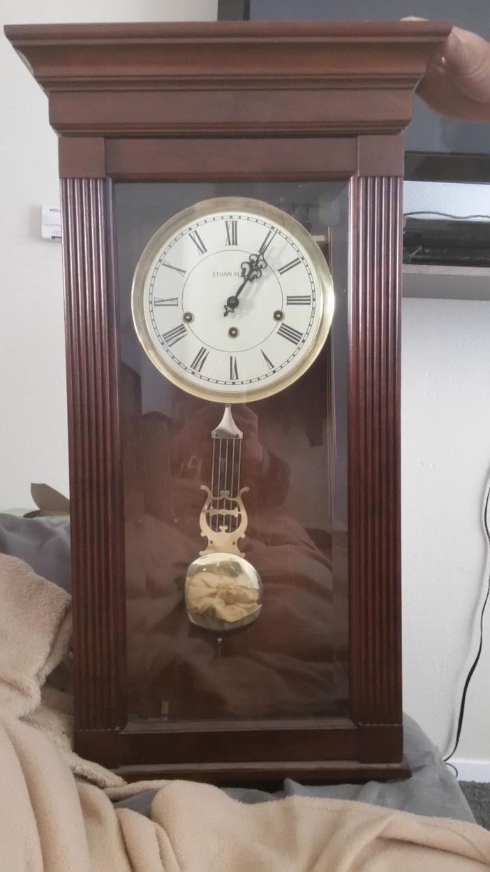Ethan Allen Wall Clock, hanging wall clock, Chestnut wood, Gold Pendulum