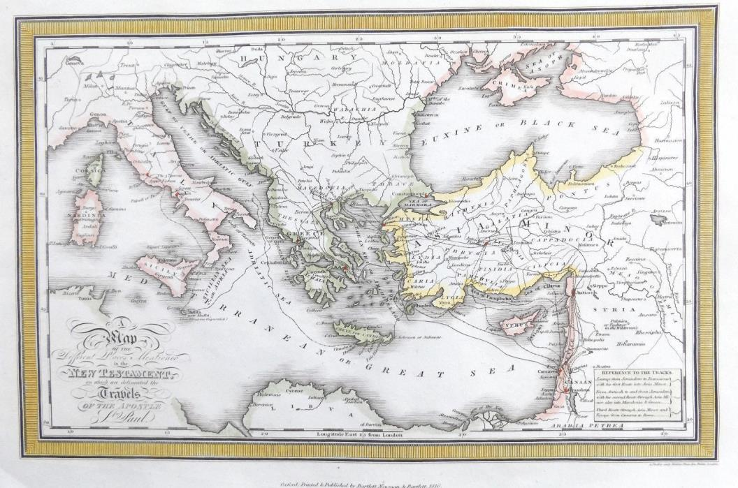 MEDITERRANEAN - ST.PAUL TRAVELS - TURKEY  Original 1816 Antique Georgian Map