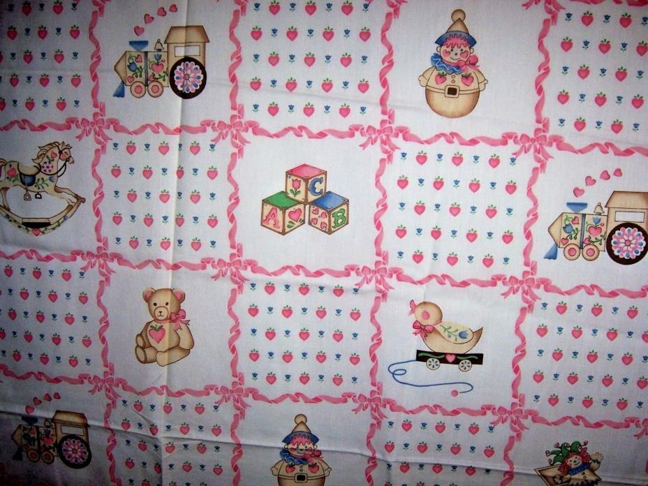Vintage Children Novelty FABRIC Toys Pink Ribbon Quilt 44