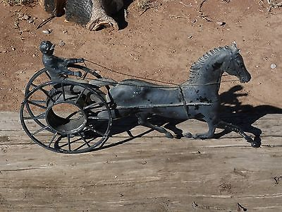 MasterKraft Cast Iron Racing Horse with Sulky Wagon Baltimore MD Metal Fixture