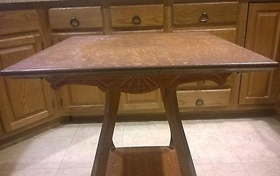 Antique Oak Parlor Lamp Table