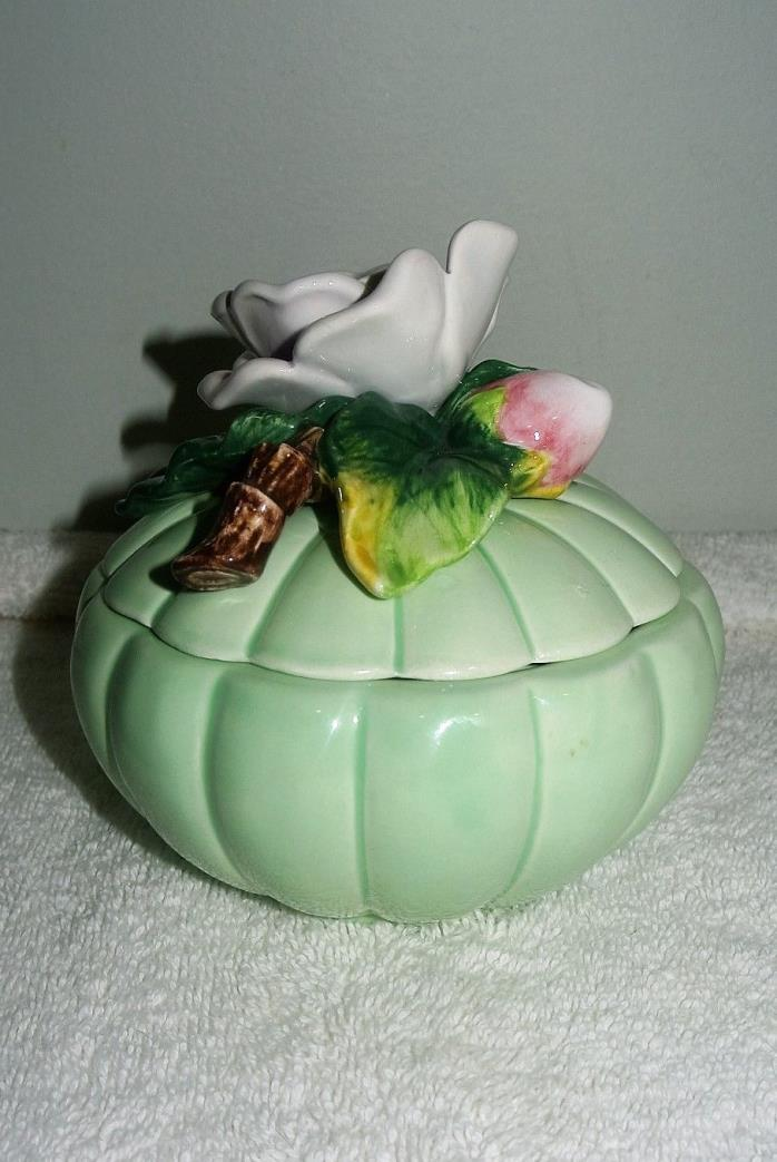 FITZ AND FLOYD ROSE DECOR CERAMIC TRINKET BOWL WITH LID