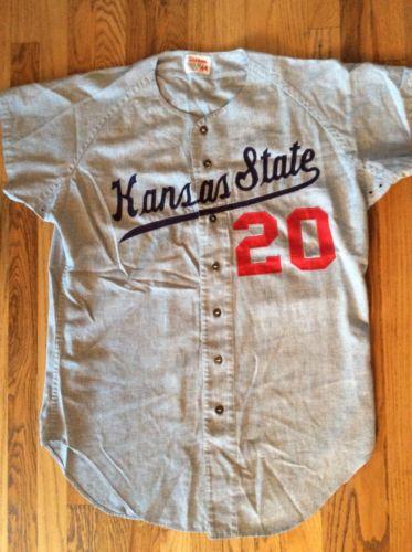 VTG 50s KANSAS STATE College Wool WILSON Baseball Jersey Uniform Shirt 44