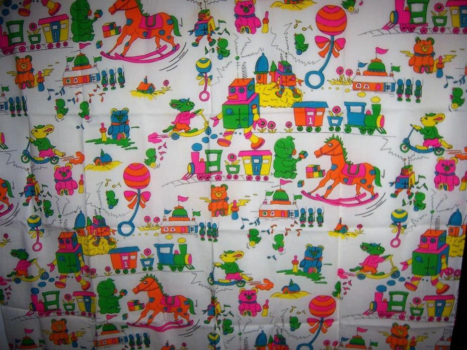 Vintage Childrens Novelty Fabric, Bright Colors Cotton woven 44