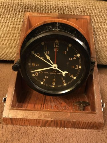 Chelsea Clock Co. U.S. Army Clock Message Center M2 With Box And Key