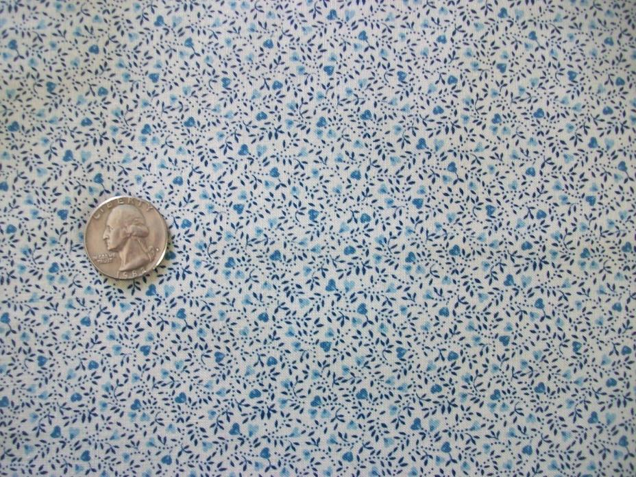 Springs Industries Vintage Tiny Blue Heart & Leaf Calico Cotton Quilt Fabric