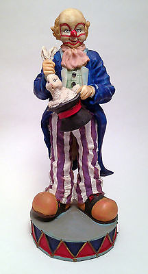 lot of 2 La Vie hand-painted ceramic Clown figurines with rabbit & magician hat