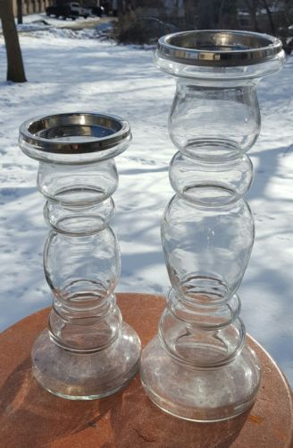 2 Clear Glass Pillar Candle Holders