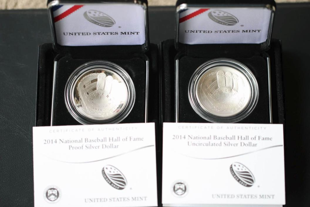 2014 Hall of Fame Silver Baseball Coin Proof and BU