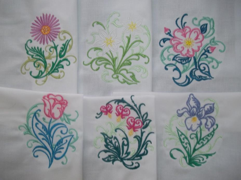 SET OF SIX BEAUTIFUL FLORAL DESIGNS WITH A SWIRLING FILAGREE ACCENT - SET #11