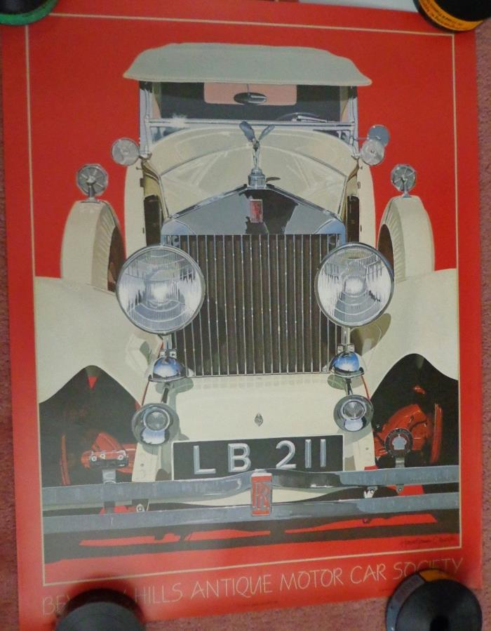 Harold Cleworth 1929 Rolls Royce Classic Car Poster Antique Motor Car 1983