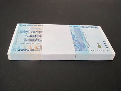 50 x 100 TRILLION ZIMBABWE DOLLARS CURRENCY.UNC 2008 Half BUNDLE* USA SELLER