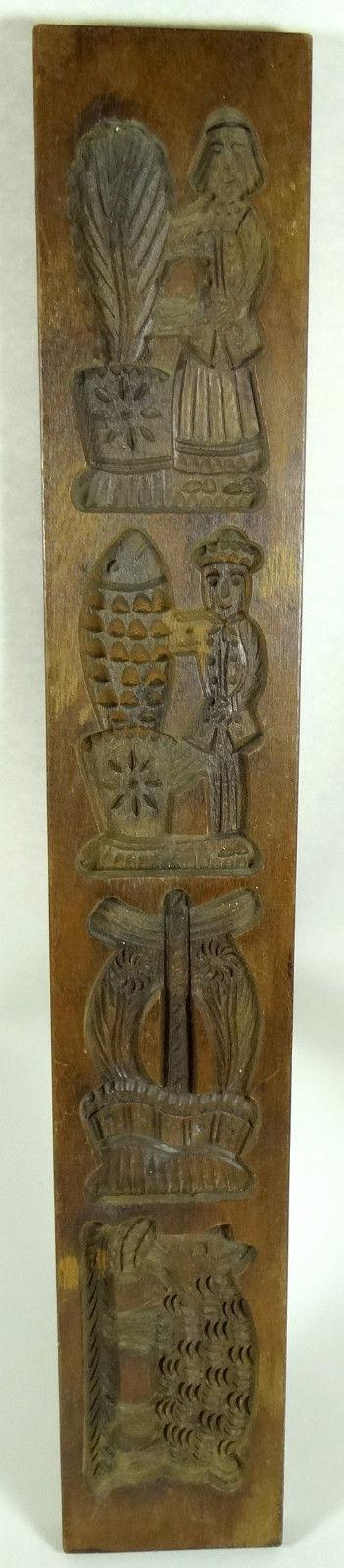 Antique Butter Mold Cookie Stamp Speculaas Springerle Folk Art RARE PIG Big 27