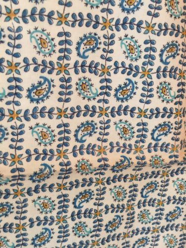 Vintage Feedsack Fabric Blue Paisley Print 38 X 47 Blues