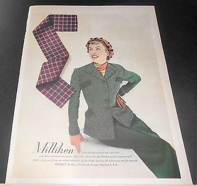 1949 MILLIKEN WOOL FABRIC CHECKED WORSTED/GABARDINE WOMEN'S SUIT AD