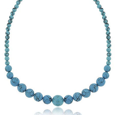 Silver Reconstituted Blue Turquoise Beaded Necklace