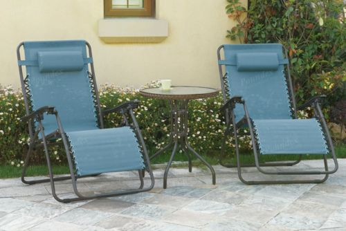 3-Piece Outdoor Lounge Set Garden Patio Furniture 2 Recliner Chairs Table Beige