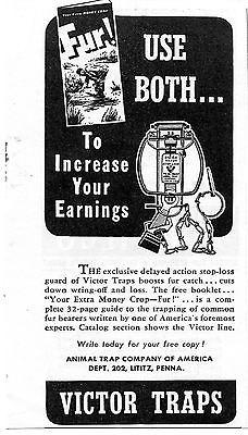 1941 Victor Traps Fur Print Ad Animal Trap Company of America Lilitz PA