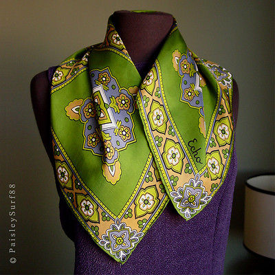Vintage Echo SCARF in Greens Purple Blue and Light Camel Medallion Squares