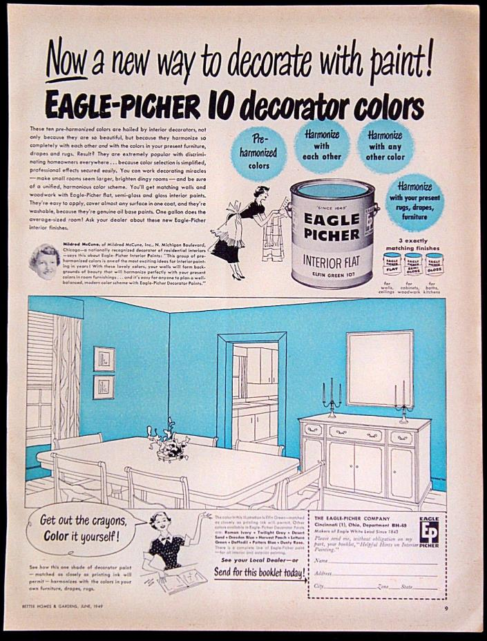 Vintage 1949 Eagle Picher Interior Flat Decorator Paint Magazine Ad