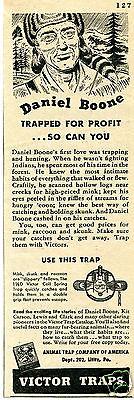 1946 Animal Trap Company of America Victor Traps Daniel Boone Print Ad
