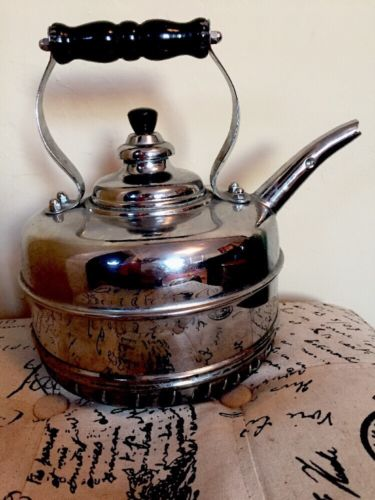 SIMPLEX PATENT KETTLE Copper Chrome Whistling Tea Pot Coil Bottom For Gas Stove