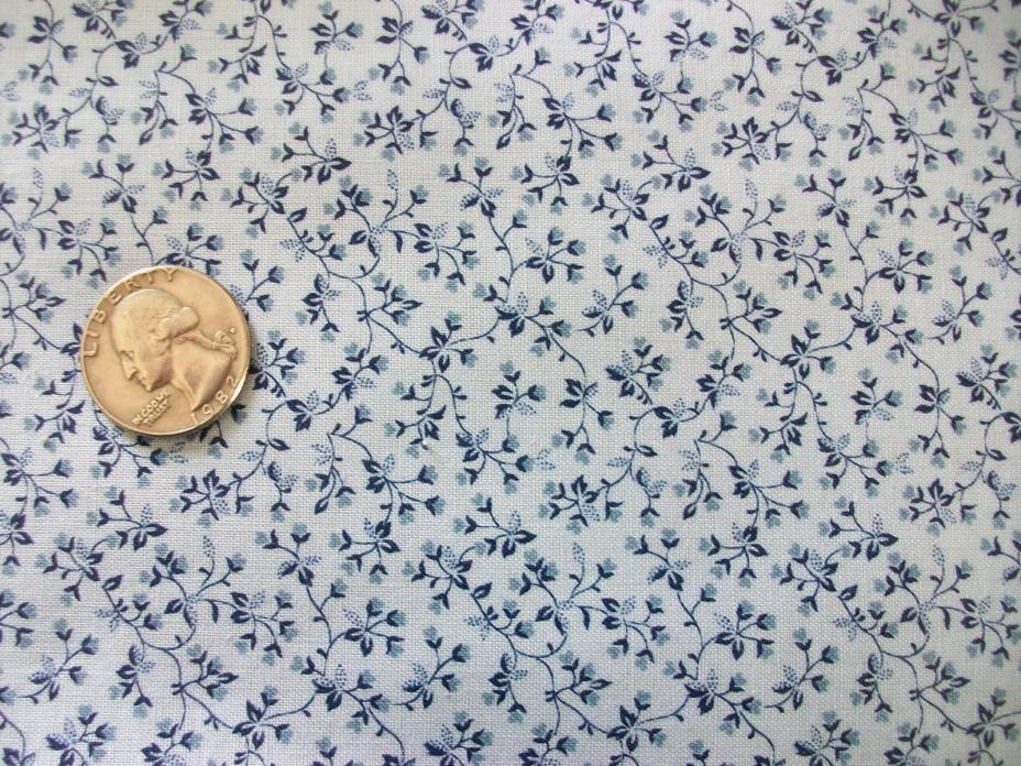 Vintage Tiny Blue Heart & Leaf Calico Cotton Quilt Fabric