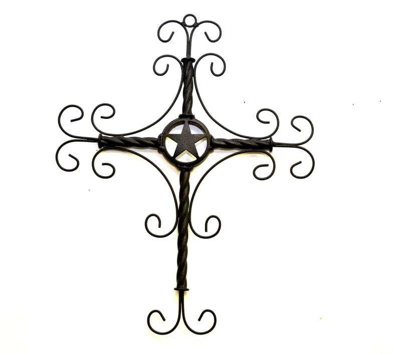 Wall Iron Cross, Star Of Texas Design- 16.25