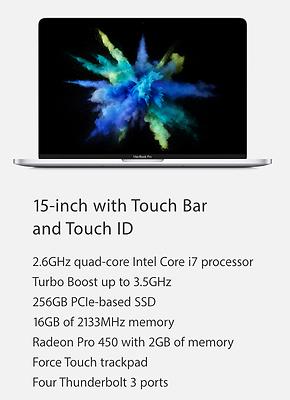 Apple MacBook Pro 15 2016 Retina Display w/Touch Bar 2.6GHz i7 16 Ram 256GB New!