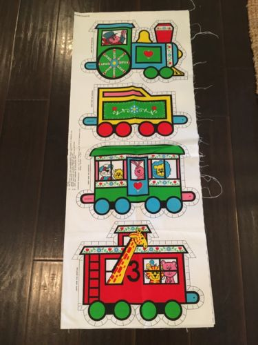 Vintage Springs Mills Pattern Train Pillow Cut Out Set Of 4 Animal Circus Fabric