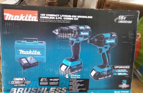 SET of 2 NEW Makita 18 Volt Compact Lithium Ion Driver Drill Cordless Tool Kit