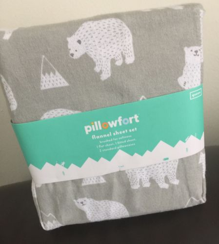 Queen Size,Pillowfort Flannel Sheet Set, Gray/White, Polar Bears/Mountains