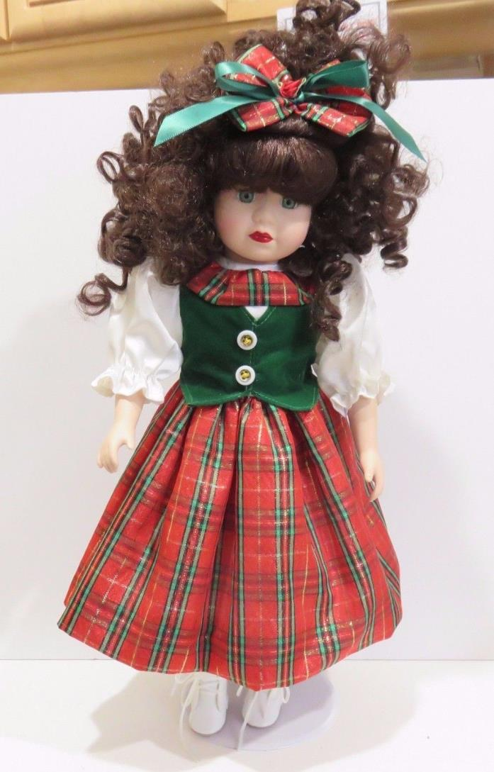 Vintage Brass Key Porcelain Doll, Brown Curly Hair 17 Inches Tall, No Box