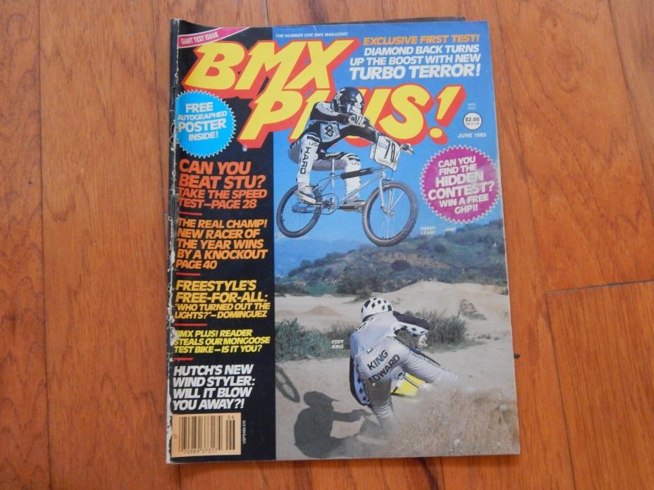 BMX Plus! Magazine June 1985 WITH Eric Rupe POSTER! Vintage 1980s BMX