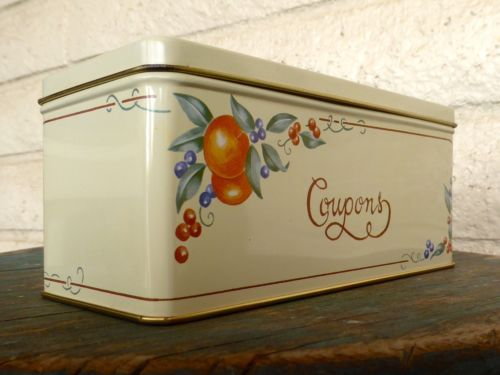 Vintage Coupon Tin Canister - Corning Coordinates Abundance Pattern w/ Dividers