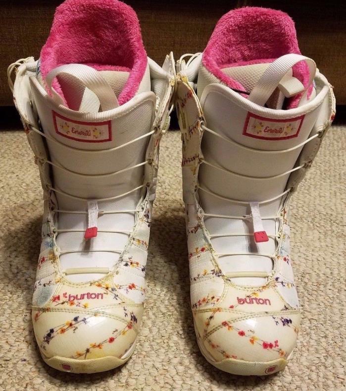 BURTON Womens Pink White Flowered ~ Emerald TrueFit  Imprint 2 Snowboard Boots 9