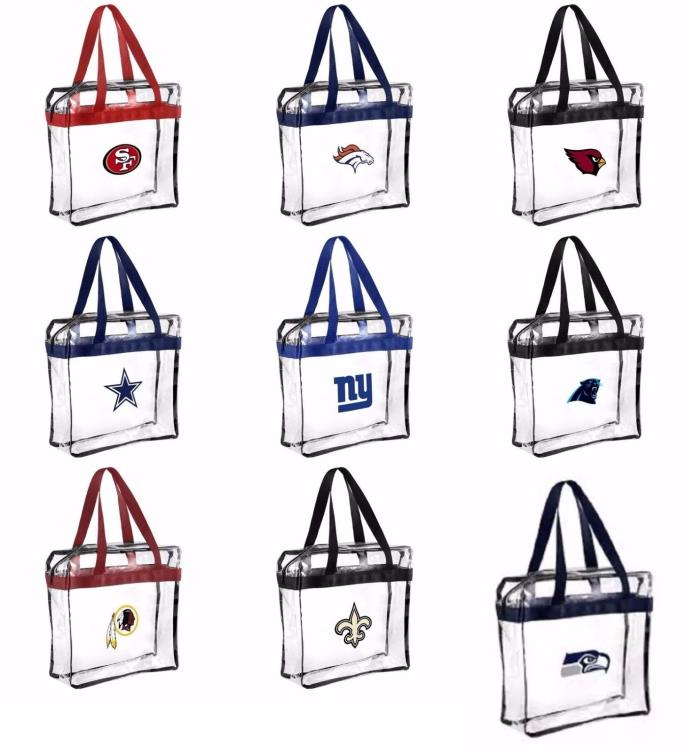 NFL Clear Messenger Tote Bag, Stadium Approved - Pick Your Team