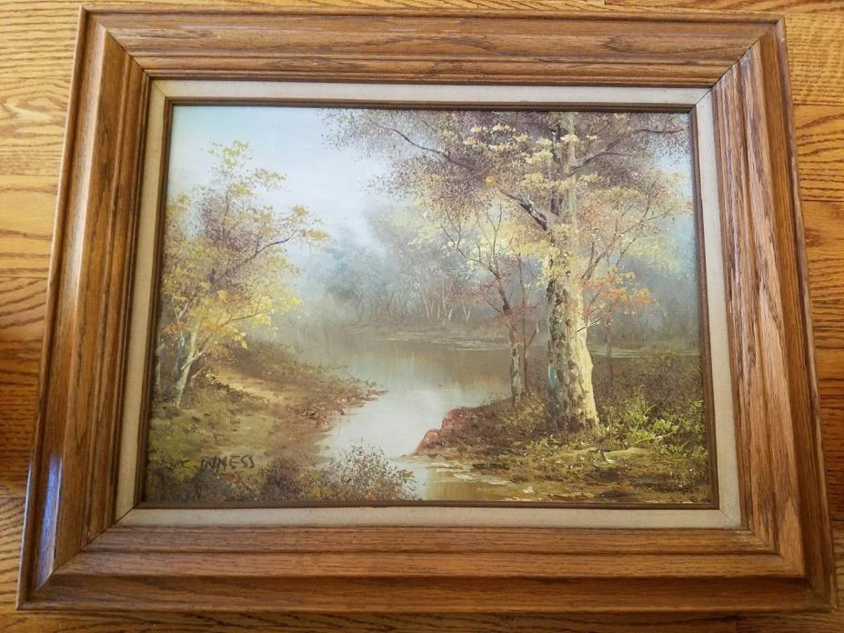Vintage Oil Painting by C. Inness Fall Scenery Collectors Corner COA