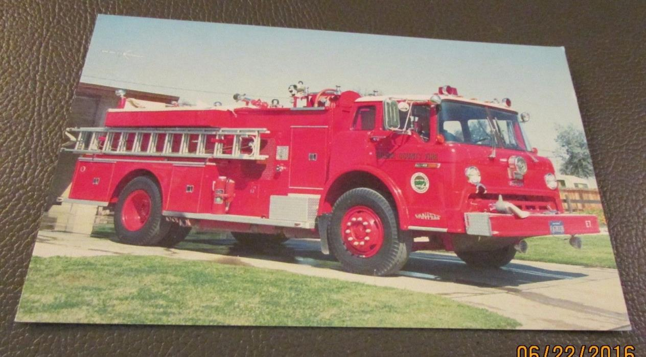 Postcard...., FIRE ENGINES ....FORD COMMERCIAL CAB TRUCK