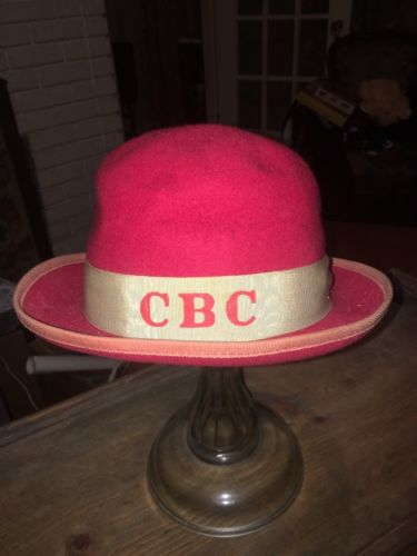 Vintage Christian Brothers College Red Felt Derby Hat Memphis Tennessee